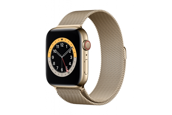 Large image of Apple Watch Series 6 GPS & Cellular 40mm Gold Stainless Steel Case With Gold Milanese Loop - M02X3LL/A