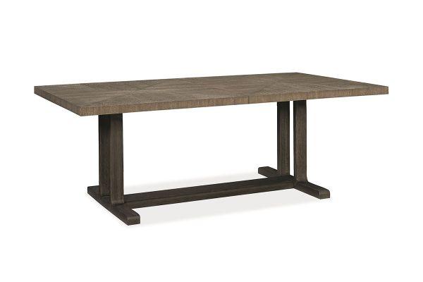 Large image of Caracole Fusion Ashen Oak Trestle Dining Table - M052-017-201