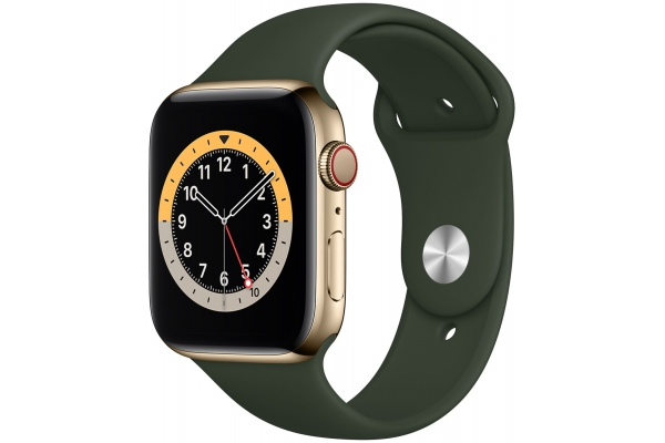 Large image of Apple Watch Series 6 GPS & Cellular 44mm Gold Stainless Steel Case With Cyprus Green Sport Band - M07N3LL/A