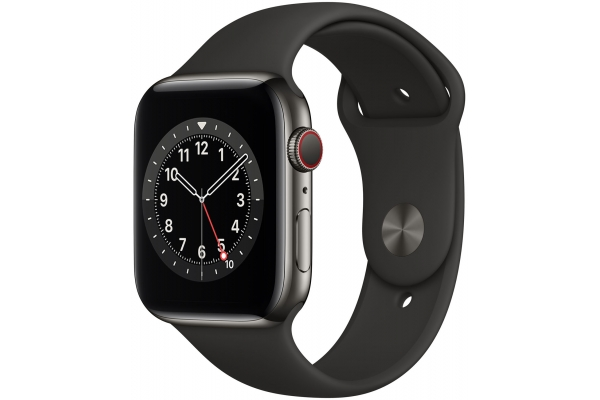Large image of Apple Watch Series 6 GPS & Cellular 44mm Graphite Stainless Steel Case With Black Sport Band - M07Q3LL/A