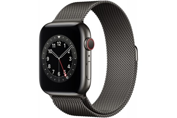 Large image of Apple Watch Series 6 GPS & Cellular 44mm Graphite Stainless Steel Case With Graphite Milanese Loop - M07R3LL/A