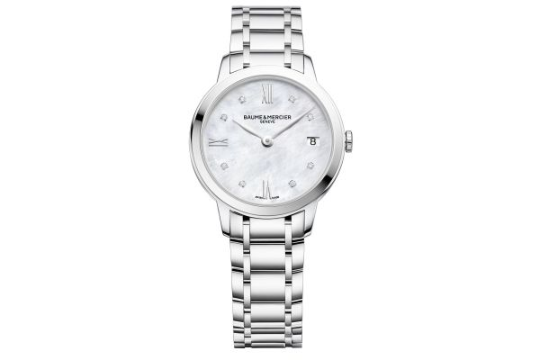 Baume & Mercier Classima 31mm Stainless Steel And Mother of Pearl Womens Watch - 10326