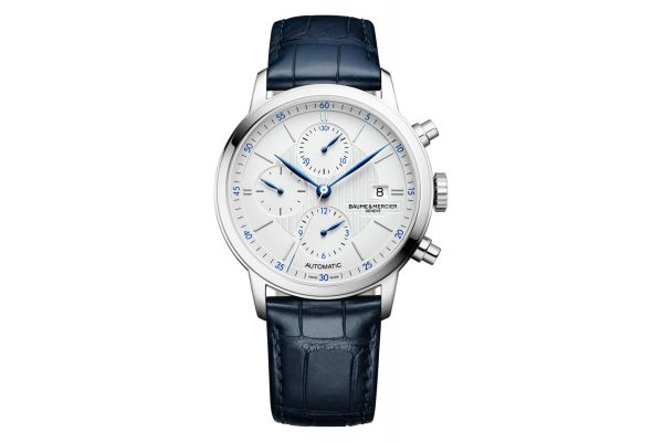 Large image of Baume & Mercier Classima 42mm Stainless Steel Blue Leather Mens Watch - M0A10330