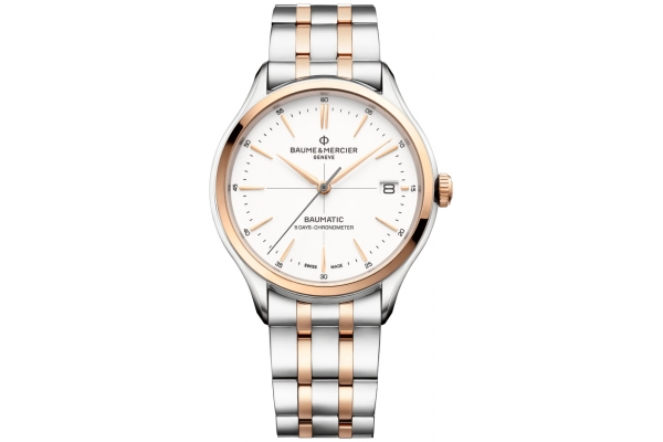 Large image of Baume & Mercier Clifton Baumatic Automatic White Dial Mens Watch - M0A10458