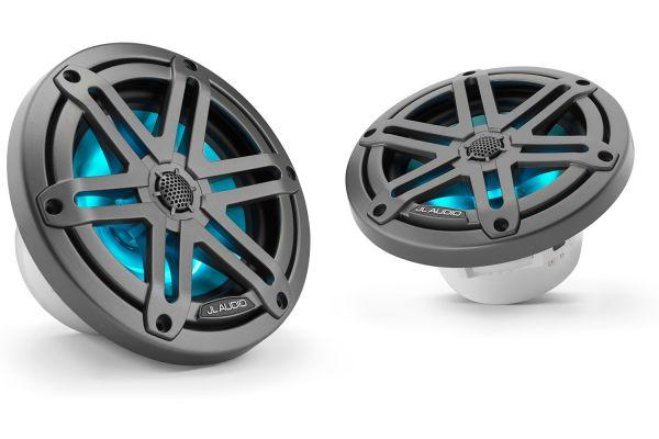 "JL Audio M3 6.5"" Gunmetal Coaxial Marine Speakers With Built-In RGB LED Lighting - 93513"