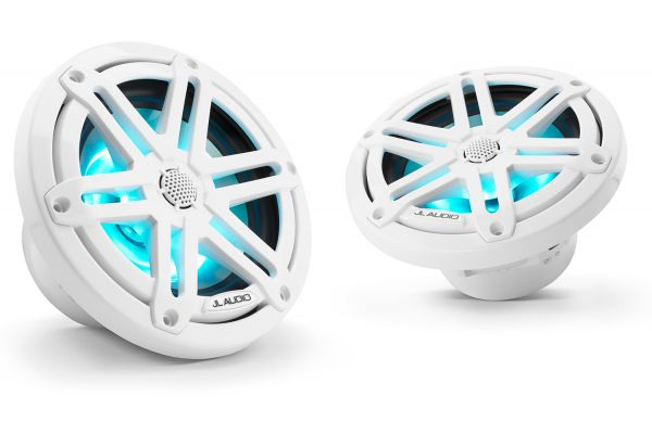 """Large image of JL Audio M3 6.5"""" Gloss White Coaxial Marine Speakers With Built-In RGB LED Lighting - 93515"""