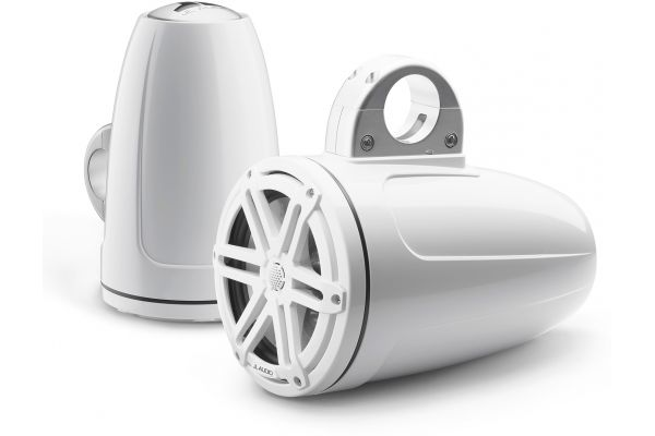 """Large image of JL Audio M3 7.7"""" Gloss White Enclosed Coaxial Marine Speakers - 93538"""