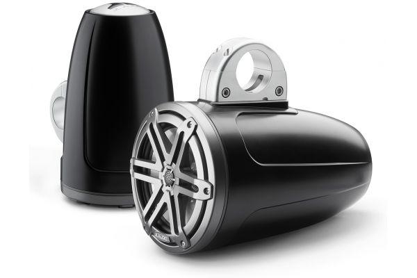 "Large image of JL Audio M3 7.7"" Satin Black Enclosed Coaxial Marine Speakers - 93536"