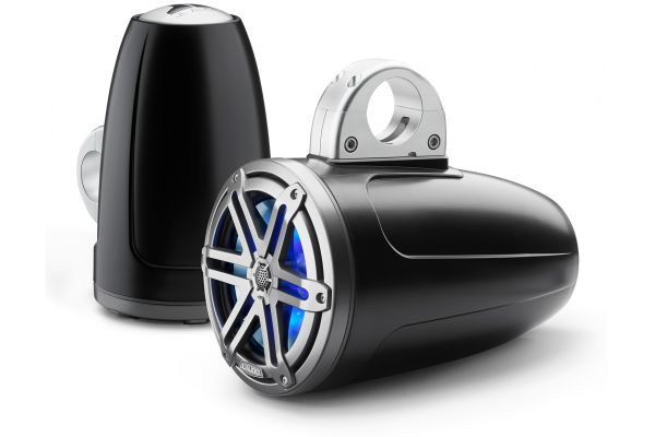 """Large image of JL Audio M3 7.7"""" Satin Black Enclosed Coaxial Marine Speakers With RGB LED Lighting - 93537"""