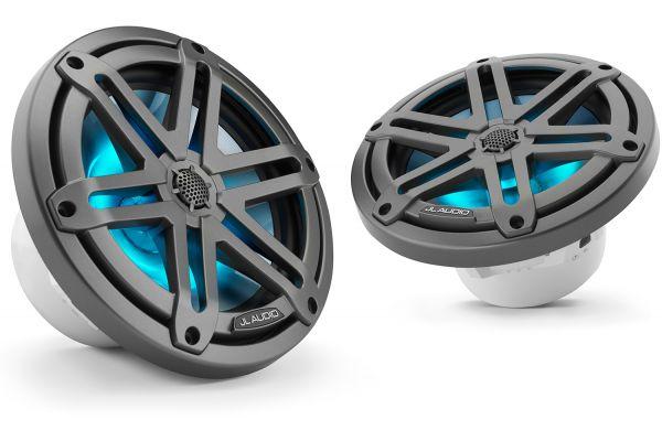 "JL Audio M3 7.7"" Gunmetal Coaxial Marine Speakers With Built-In RGB LED Lighting - 93521"