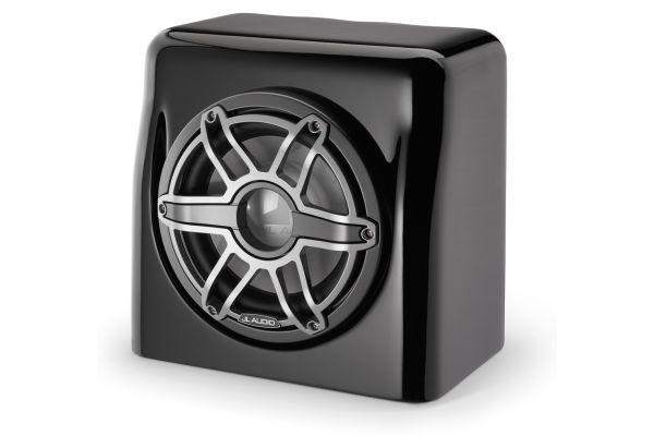 "Large image of JL Audio 10"" Sport Grille Gloss Black Marine Enclosed Subwoofer System - 90011"