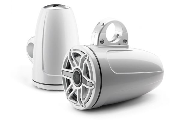 """Large image of JL Audio M-Series 7.7"""" Gloss White Enclosed Tower Coaxial System - 93654"""