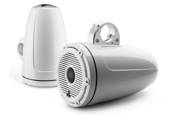 """Large image of JL Audio M-Series 8.8"""" Gloss White Enclosed Tower Coaxial System - 93661"""