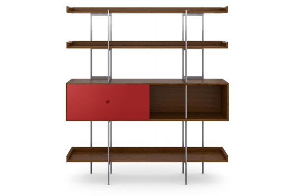 Large image of BDI Margo 5201 Toasted Walnut And Cayenne Modern Display And Shelf - 5201 TWL/CN