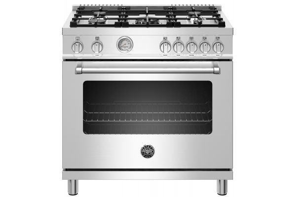 "Large image of Bertazzoni Master Series 36"" Stainless Steel Freestanding Gas Range - MAST365GASXE"