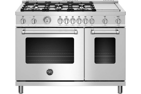 "Large image of Bertazzoni Master Series 48"" Stainless Steel Dual Fuel Range - MAST486GDFMXE"