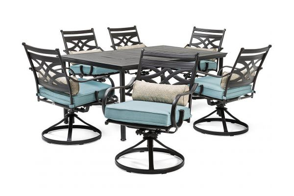 """Large image of Hanover Montclair 7-Piece Dining Set In Ocean Blue With 6 Swivel Rockers And A 40"""" x 67"""" Dining Table - MCLRDN7PCSQSW6BLU"""