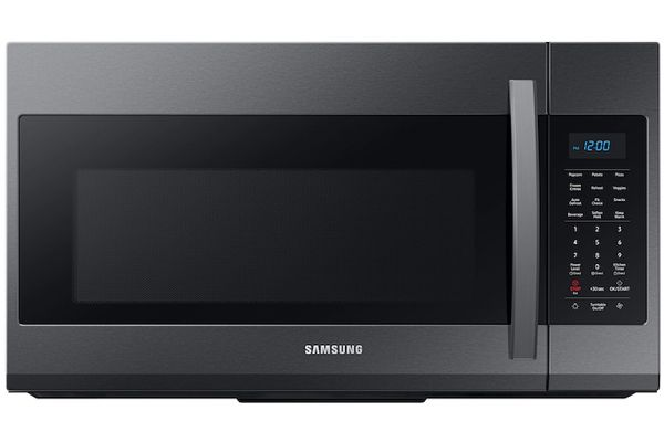 Large image of Samsung 1.9 Cu. Ft. Fingerprint Resistant Black Stainless Steel Over-The-Range Microwave With Sensor Cooking - ME19R7041FG/AA