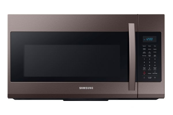 Large image of Samsung 1.9 Cu. Ft. Fingerprint Resistant Tuscan Stainless Steel Over-The-Range Microwave With Sensor Cooking - ME19R7041FT/AA