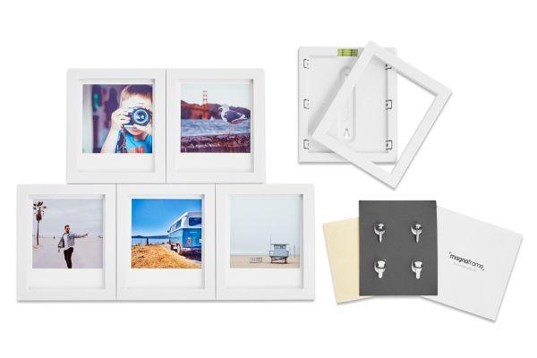 Large image of Magnaframe Magnetic 6-Pack White Picture Frame for Polaroid Originals - MF01002