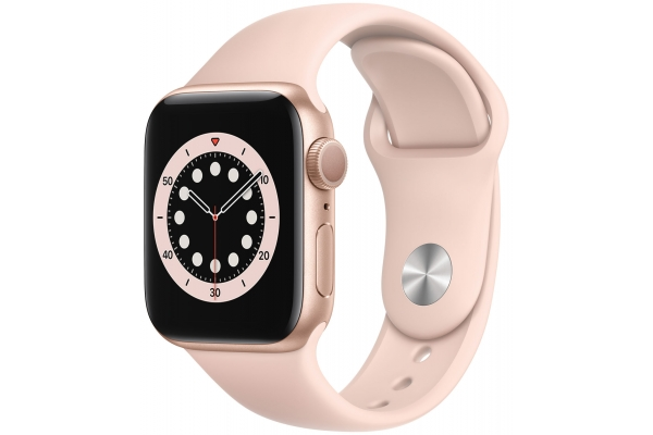 Large image of Apple Watch Series 6 GPS 40mm Gold Aluminum Case With Pink Sand Sport Band - MG123LL/A