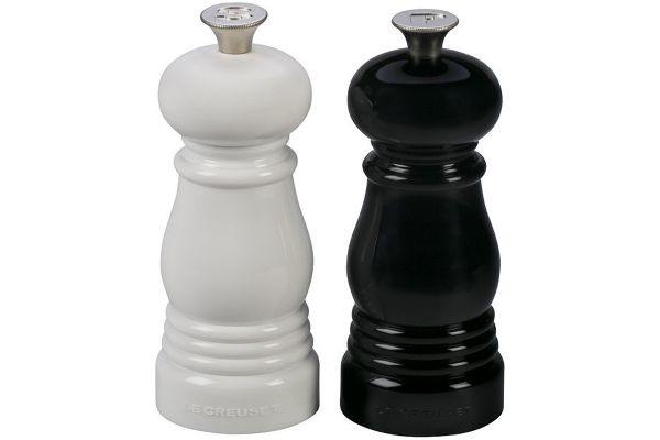 Large image of Le Creuset Black & White Petite Salt And Pepper Mill Set - MG510-BW