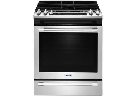 """Maytag 30"""" Stainless Steel Slide-In Convection Gas Range - MGS8800FZ"""