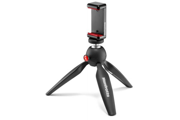 Large image of Manfrotto Black Mini Tripod With Universal Smartphone Clamp - MKPIXICLAMP-BK & PRO2102