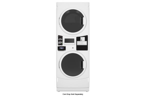 Large image of Maytag Commercial White Coin Drop Ready Stacked Washer And Electric Dryer - MLE22PDAYW