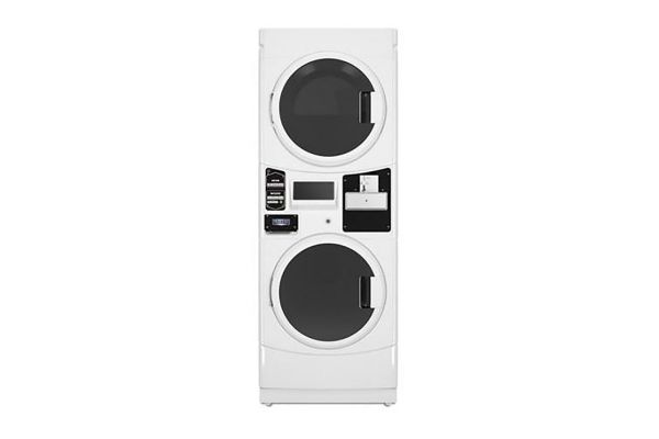 Large image of Maytag Commercial White Coin Drop Ready Stacked Gas Washer & Dryer - MLG22PDAWW