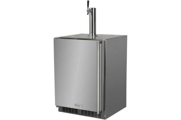 """Large image of Marvel 24"""" Stainless Steel Left-Hinge Outdoor Built-In Beer Dispenser - MO24BSS2LS"""