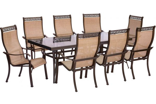 Large image of Hanover Monaco 9-Piece Dining Set - MONDN9PCG