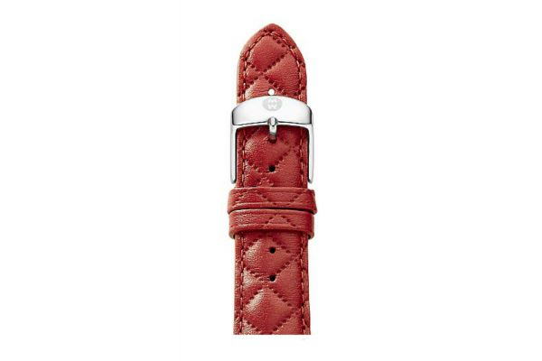 Large image of Michele 16mm Red Quilted Leather Watch Band - MS16AA370600