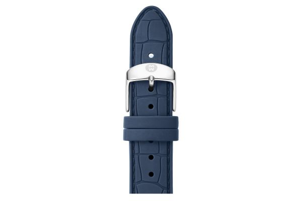 Large image of Michele 16mm Navy Embossed Silicone Watch Strap - MS16AI710400