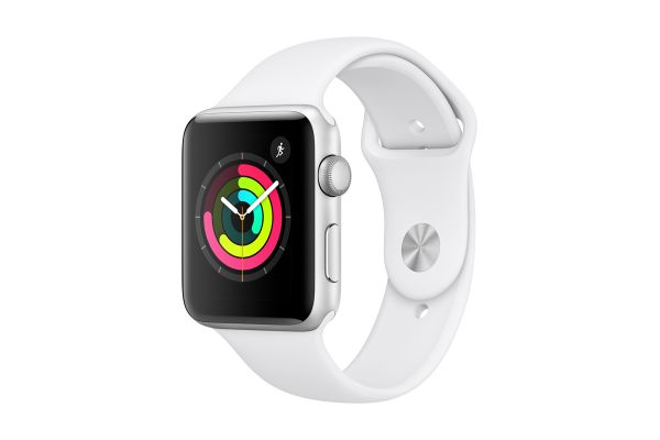 Apple Watch Series 3 GPS 38mm Silver Aluminum Case with White Sport Band - MTEY2LL/A