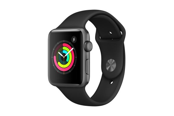 Large image of Apple Watch Series 3 GPS 38mm Space Gray Aluminum Case with Black Sport Band - MTF02LL/A