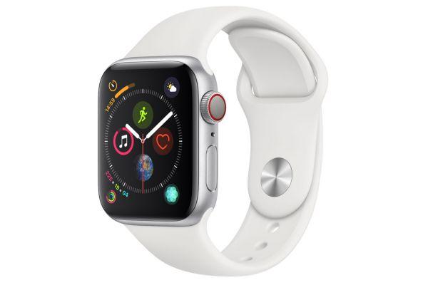 Apple Watch Series 4 GPS & Cellular 40mm Silver Aluminum Case With White Sport Band - MTUD2LL/A