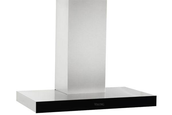 "Large image of Viking 36"" Virtuoso 6 Series Stainless Steel With Black Glass Wall Hood - MVWHS636BG"