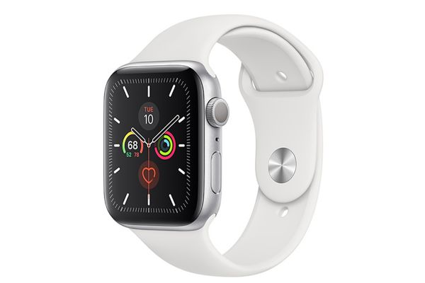 Large image of Apple Watch Series 5 GPS 40mm Silver Aluminum Case With White Sport Band - MWV62LL/A