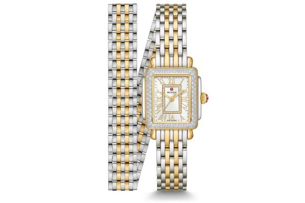 Large image of Michele Deco Mini Two-Tone 18K Gold Diamond Womens Watch - MWW06D000163