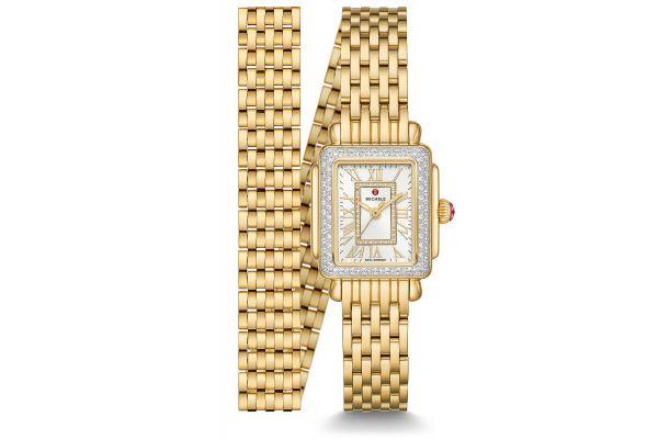 Large image of Michele Deco Mini 18K Gold Diamond Womens Watch - MWW06D000164