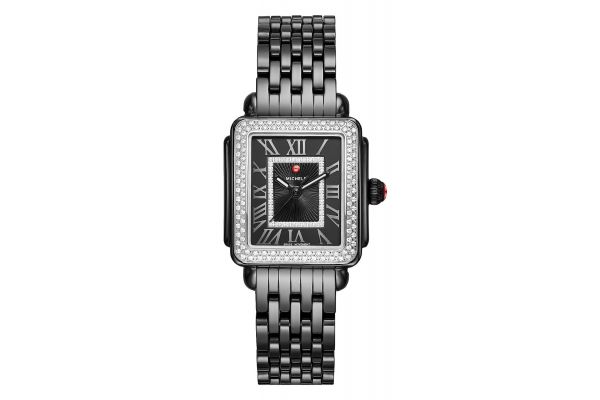 Michele Deco Madison Mid Noir Ceramic Diamond Womens Watch - MWW06G000008