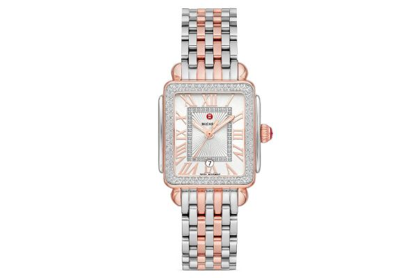 Large image of Michele Deco Madison Mid Two-Tone Pink Gold Diamond Womens Watch - MWW06G000015