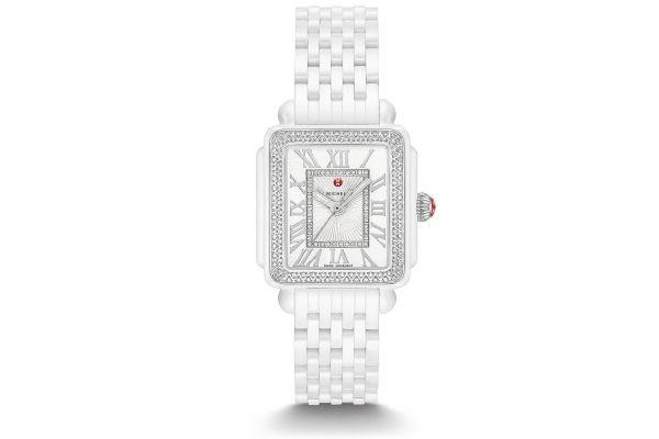 Large image of Michele Madison Mid White Ceramic Diamond Womens Watch - MWW06G000026