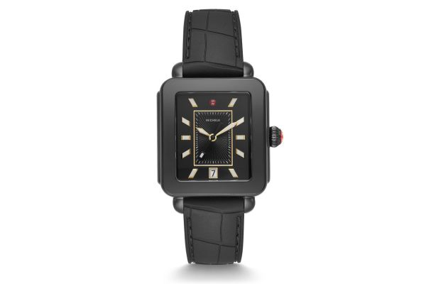 Large image of Michele Deco Sport Blackout And Black Embossed Silicone Womens Watch - MWW06K000012