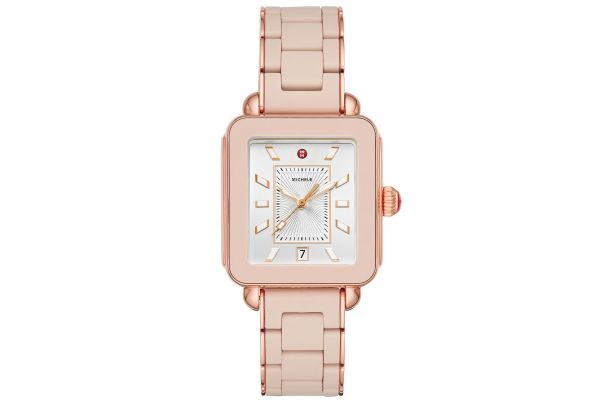 Michele Deco Sport Pink Gold Desert Rose Wrapped Silicone Womens Watch - MWW06K000018