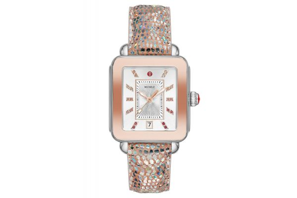 Large image of Michele Deco Sport Two-Tone Pink Gold Tone Iridescent Lizard Womens Watch - MWW06K000026