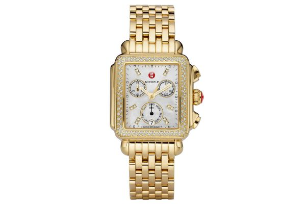 Large image of Michele Deco Gold Diamond, Diamond Dial Womens Watch - MWW06P000100