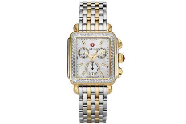 Large image of Michele Deco Two-Tone Diamond, Diamond Dial Watch - MWW06P000108
