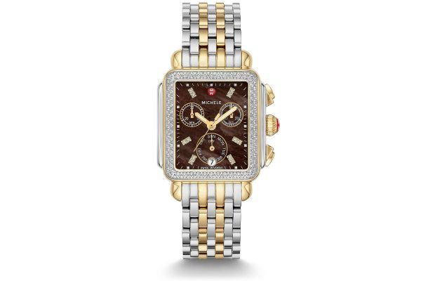 Large image of Michele Signature Deco Two-Tone Diamond Watch, Chocolate MOP Dial - MWW06P000293
